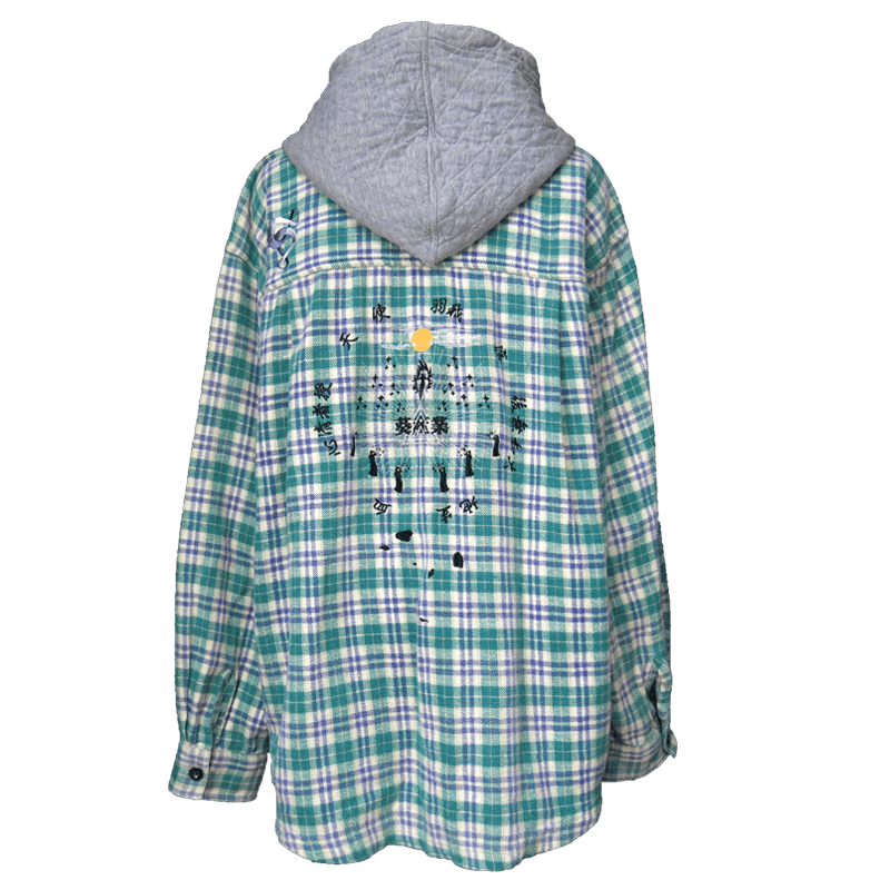 奇祭フーデッドシャツ黒キラキラ/緑