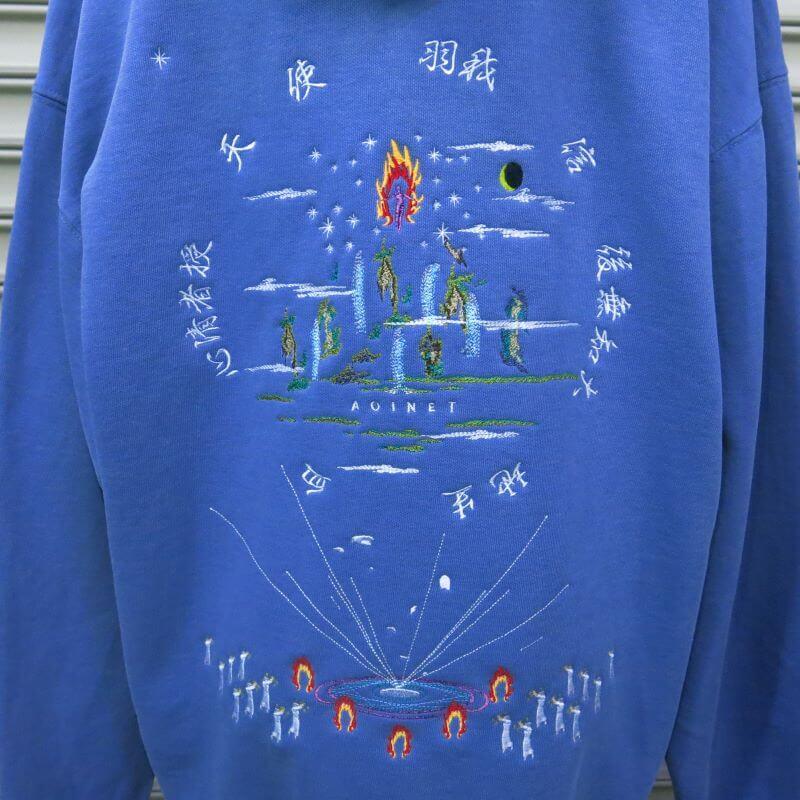 奇祭フーディ washed BLUE GRAY
